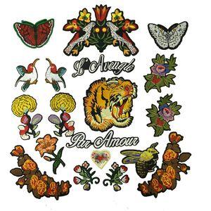 1 juego de parches bordados para coser apliques pájaros tigres carta flor DIY para acolchar mosaico accesorios decorativos trabajo hecho a mano