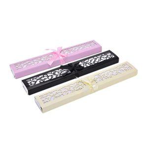 Favors de mariage Fan de luxe pliant en soie Fan en élégant Laser-Cut cadeau boîte cadeaux pour invités 3 couleur