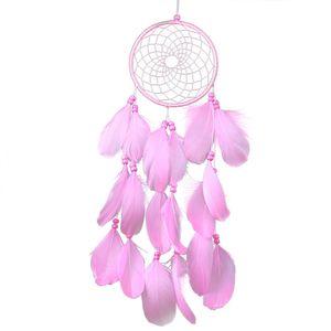 Pink Feathers Wind Dream Catcher colgante de pared hecho a mano decoración del coche del hogar adorno artesanía campanas de viento decoración colgante