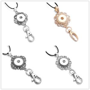 Vintage Noosa Snap Button Jewelry Plata 18mm Botones Snap Collares pendientes Botón Snap Llavero Llavero Collar