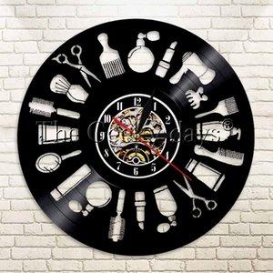 Wholesale-1Piece Hair Logo  Record Wall Art Clock Barber Shop Decor Hairdresser Beauty Salon Beauty Handmade Gift
