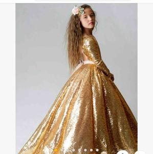 Gold Full Seaurs manches longues Girls Pageant Fête Robes 2021 Formelle Open Open Ros Vestidos de Flower Girls robe pas cher Vente de robes de bal enfants
