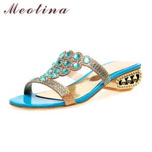Meotina Mulheres Sapatos Verão Slides Party Square Chunky Med Heels Sapatos Mulheres Rhinestone Chinelos Triângulo Chinelos Plus Size 9 10
