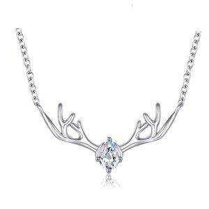 N41002 El fawn colgante collar de plata dulce encantadora dama gemas transparentes adecuado para damas y niñas moda versión coreana