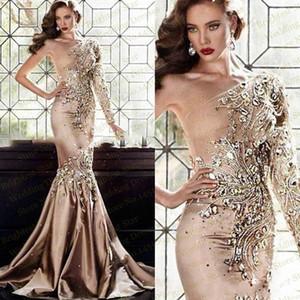 2018 Champagne di lusso abiti da sera una spalla manica lunga con strass di cristallo illusione di raso del merletto della sirena Sexy Celebrity Party Prom Gown