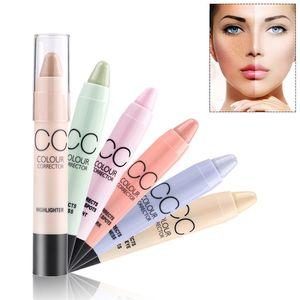 Contorno Resaltador Maquillaje facial CC Corrector de color Corrector de manchas Crema Base de paleta Pluma Lápiz Stick Menow Cosmético 6 colores