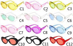 Clout Transparente Sonnenbrillen Brille Vintage Blendenfarbe Objektiv Ovale Sonnenbrille NIRVANA Kurt Cobain Brille Alien Shades 90er Jahre White Eyewear