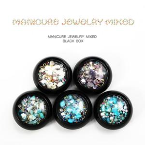 Coloré Nail Art Décoration Manucure Charme Gem Perles Strass Creux Shell Flake Flatback Rivet Mixte Brillant Glitter 3D Accessoires DIY
