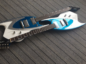 Personalizzato J BACKLUND PROGETTAZIONE JBD 400 Shark a forma di Metallic Blue White Top chitarra elettrica Chrome Pickguard, Chiusura sintonizzatori