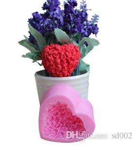 Amore a forma di cuore Stampo in silicone Mini Rose Flower Cake Strumenti di cottura fai da te Chocolate Pudding Mold per San Valentino I migliori regali 4zy ZZ