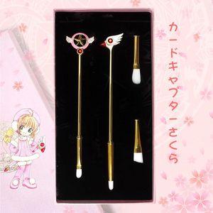 Bonito 4 Pcs Cardcaptor Sakura Makeup Brushes Set Pode Substituir Escova Cabeça Lábio Lápis Corretivo Brushes Kits