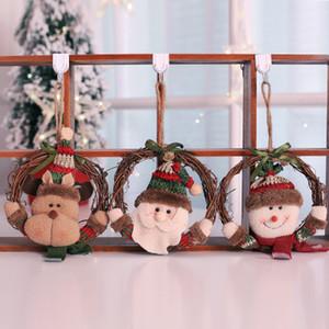 Weihnachtsbaum Ornamente Kränze hängen Santa Claus Dekoration Fenster Tür hängende Garland Weihnachten für Home Decor
