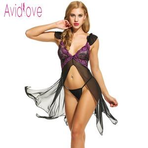 Avidlove Sexy Lingerie Nuisette Robe Erotic Nightdress Femmes Asymétrique Ouvert Front Nightwear Sheer Mesh Vêtements de Nuit Sex Costume Y18110504