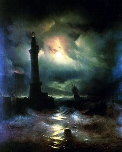 Neopolitan Lighthouse Russian Seascape Ocean Painting Real Dipinto a mano HD Stampa Landscape Art pittura a olio su tela Multi size l101
