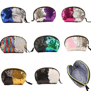 Shell Sequins Sac cosmétique Pochettes Mermaid Sequin Purse Mermaid Maquillage Sacs Cosmetic Glitter Organizer Coin Bag 8 Couleurs Taille 16x8x14cm