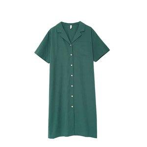 2018 Summer Ins Super Fire Buckle Shirt Skirt Allentato e confortevole Green Leisure Time Small Freshness e Retro Skirt