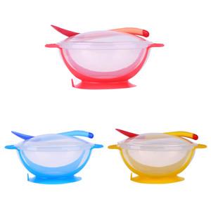 3pcs / set vaisselle de table vaisselle bol d'aspiration avec la température de détection cuillère cuves d'alimentation de bols pour manger trainining