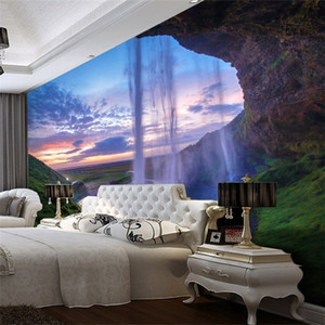 3D Wallpaper Bella Sunset Waterfall Photo Wall Mural Salotto Sala da pranzo Sfondo carta da parati Modern Home Decor affreschi