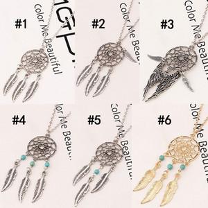 뜨거운 패션 드림 포수 초커 목걸이 silverGold 술의 날개 깃털 잎 터키석 펜던트 목걸이 여성 패션 쥬얼리에 대한