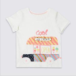 2018 Little Maven NEW ARRIVAL 소녀 인 퓨어 코튼 반팔 만화 아이스크림 인과 여름 T 셔츠 프린트 무료 배송