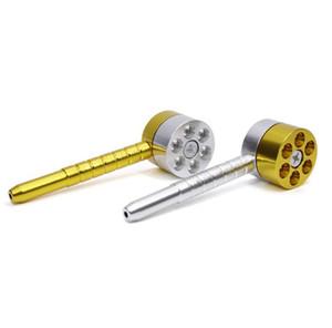 Tubos de metal para fumar 6 agujeros Revolver rotación tubo de hierba Tubo de fumar aleación de aluminio fumar tubo Accesorios para fumar cachimba YW1149