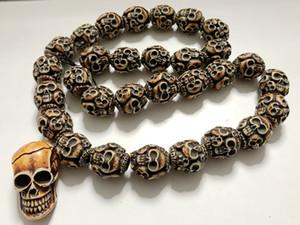 Бесплатная доставка YQTDMY преувеличены скелет головы ретро модные аксессуары воротник черепа ожерелье панк вечеринка (30 бусины черепа + 1 голова черепа)