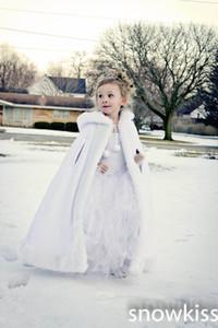 Cappotto lungo con cappuccio da ragazza in avorio / mantella da sposa bianca Giacca in pelliccia sintetica per cappotti capispalla per bambini invernali