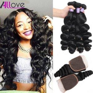 Brazilian Loose Wave 3pcs with Lace Closure Malaysian Virgin Hair Peruvian Indian Hair Extensions Wholesale Human Hair Bundles Weft with Closure