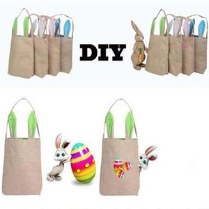 2018 NEW design Burlap Cotton Linen Canvas Easter Egg Bag Rabbit Bunny Ears Shopping Tote bags kids children Jute Cloth gift handbag