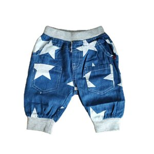 Children Elastic Waist Harem Pants Knee Length Cotton Star Print Denim Pant Blue Boys Clothing Kids Pants Summer Boys 2018