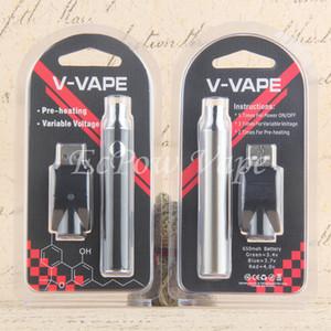 موك 5 قطع ecigs vaping 650 مللي أمبير evod التسخين البطارية v- vape الجهد متغير vape القلم ecig vv vaorizer بليزر كيت بواسطة epacket / البريد