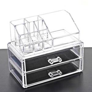 1pc Transparent Acrylic Makeup Organizer Storage Boxes Make Up Organizer Cosmetics Storage DoubleDrawer