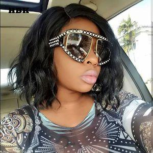 عالية الجودة الفاخرة كبيرة لؤلؤة نظارات شمسية النساء الرجال المتضخم نظارات الشمس للإناث الذكور واضح عدسة حملق uv400