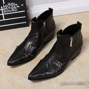 Leather Boots Boots Genuine Cowboy Men Zip Dress Black Men Vthfq