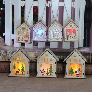الصمام منزل خشبي شجرة عيد الميلاد زخرفة معلقة الحلي المنزل مضاءة عطلة لطيف عيد الميلاد هدية عرس زخرفة