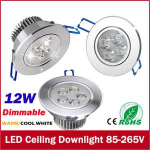 Livraison Gratuite Dimmable 9W 12W Downlights led ampoules 85-265V éclairage encastré led spot light avec led conducteur garantie 3ans