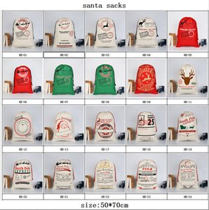 2020 New Arrival Christmas sack cotton bag Santa claus Sacks drawstring gift bags With Reindeers Monogramable large bags For Kids