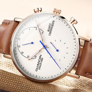 GUANQIN design Genuine Leather Watches Men Top  NEW Men Sports Clock Sapphire Analog waterproof Mens Quartz Wrist Watches