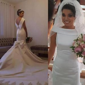 Старинные атласные русалки свадебные платья южноафриканских женщин свадебные платья с луком сексуальные без спинки разведка поезд свадьба Vestidos на заказ