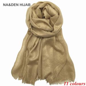 2017 hilo de oro bufanda sólida mujeres shimmer liso bufandas de viscosa y chal musulmanes bufandas impresas árabe hijabs shinny 5 unids