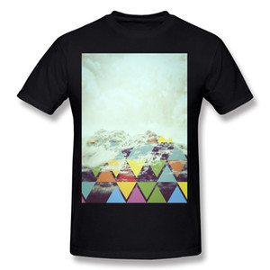 Wholesale 남성 코튼 트라이앵글 마운틴 티 셔츠 남성 라운드 칼라 화이트 짧은 소매 티셔츠 플러스 크기 일반 티 셔츠