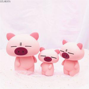 Resina de Dibujos Animados Animales Pink Pig Anime Figura de Acción Impresa Piggy Bank Ahorro Caja de Dinero Niños Regalo Decoración Noche Luz Juguetes Nuevo