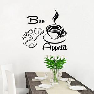 Bon Appetit Bread Coffee Wall Stickers Decor per la cucina piastrelle decalcomanie Adesivo adesivo impermeabile