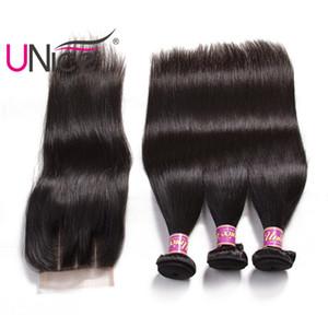 Unice Hair Raw Virgin Indian Paquetes de cabello lacio con cierre Extensiones de cabello humano Paquetes de tejido humano con cierre Top Bulk Wholesale