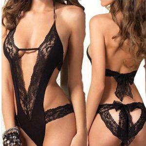 Lingerie sexy Perspective ajourée Dentelle Tentation à trois points Costume féminin noir Tentation amusante