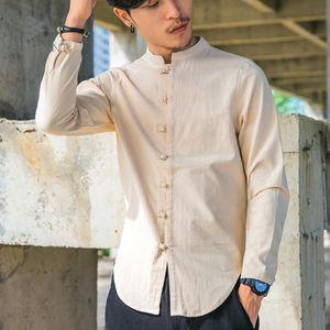 Camicie di cotone da uomo Camicie di lino Manica lunga Stile cinese Colletto alla coreana Camicia sociale tradizionale Kung Fu Tang Casual Abbigliamento di marca