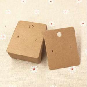 200 pçs / lote 5 * 4 cm Cartões de Papel Kraft Brinco Cartões de Embalagem de Jóias Em Branco Marrom Brinco Mostrar Cartões de Jóias Etiquetas de Preço