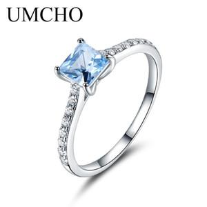 UMCHO 5 * 5mm Sky Blue Topaz Yüzük Nişan Alyans Kadınlar Için 925 Ayar Gümüş Yüzük Yıldönümü Vintage Hediye takı