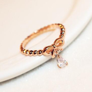 Korean Women Jewelry Luxury Water Drop Zircon Rings Rose Gold Plated Bowknot Charms Fings for Wedding Party Vintage Finger Rings Jewelry