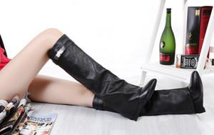 Botas altas hasta la rodilla de invierno Mujeres tacón de cuña tiburón Correa Plegado punto del dedo del pie damas caballero botas mujer martin botas de cuero mujer otoño zapatos